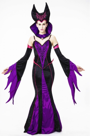 Womens Spaghetti Straps Sexy Halloween Maleficent Costume Purple