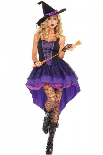 Womens Sleeveless Sexy Halloween Witch Costume Purple - PINK QUEEN