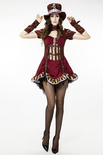 Womens Short Sleeve Pretty Halloween Pirate Costume Ruby