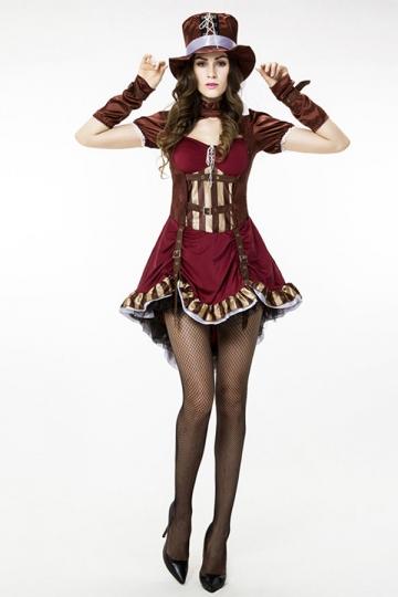 Womens Short Sleeve Pretty Halloween Pirate Costume Ruby
