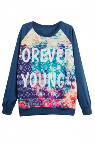 Womens FOREVER YOUNG Printed Pullover Sweatshirt Blue