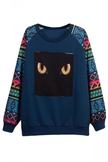 Womens Long Sleeve Big Yellow Eyes Printed Pullover Sweatshirt Blue