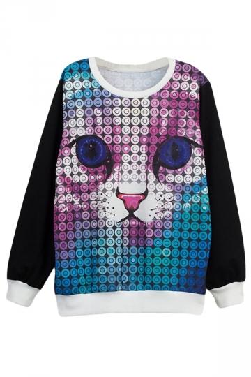 Womens Big Blue Eyes Cat Printed Pullover Sweatshirt Black