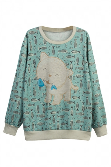 Womens Cute Cat Eating Fish Printed Pullover Sweatshirt Turquoise