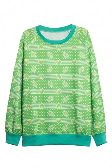 Womens Strawberry Printed Pullover Sweatshirt Green