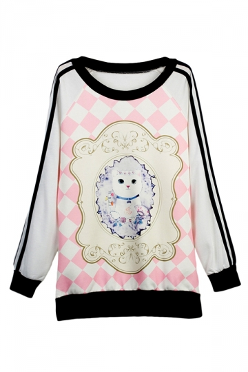 Ladies Mirror Cat Printed Crew Neck Pullover Sweatshirt Pink