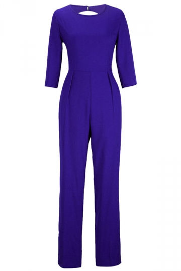 Blue Plain Backless Sexy Elegant Womens Jumpsuit