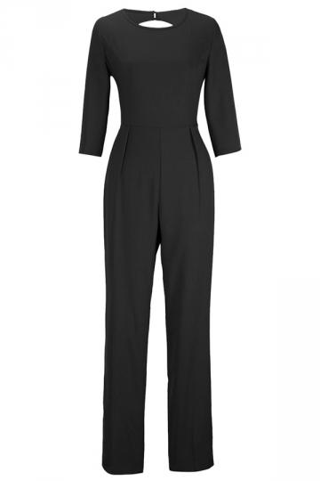 Black Plain Backless Sexy Elegant Womens Jumpsuit