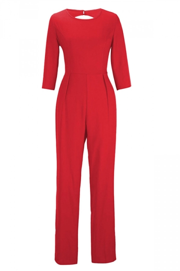 Red Plain Backless Sexy Elegant Womens Jumpsuit