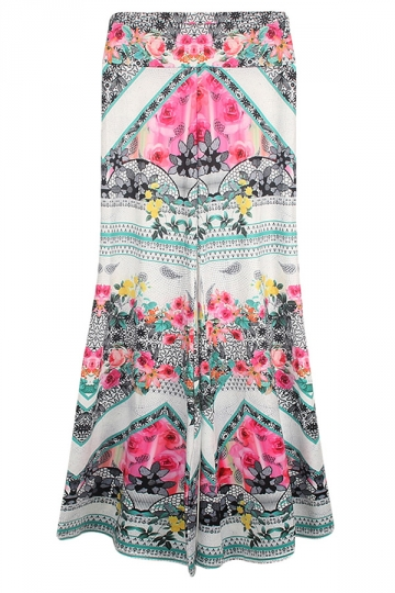 Pink Ladies Flower Printed Exotic Loose Leisure Palazzo Pants