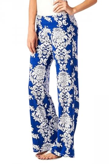 Blue Ladies Exotic Loose Floral Printed Leisure Palazzo Pants