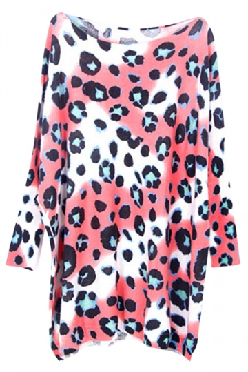 Pink Leopard Pattern Long Sleeve Loose Womens Pullover Sweater