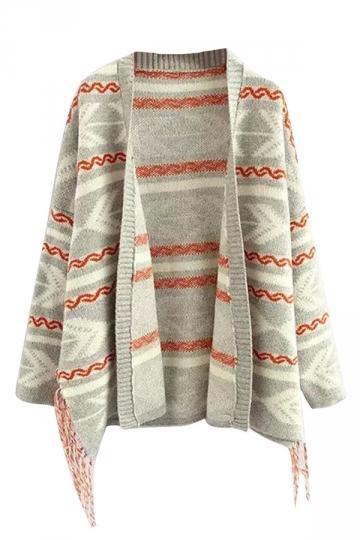 Gray Tassel Geometric Pattern Casual Womens Cardigans Sweater
