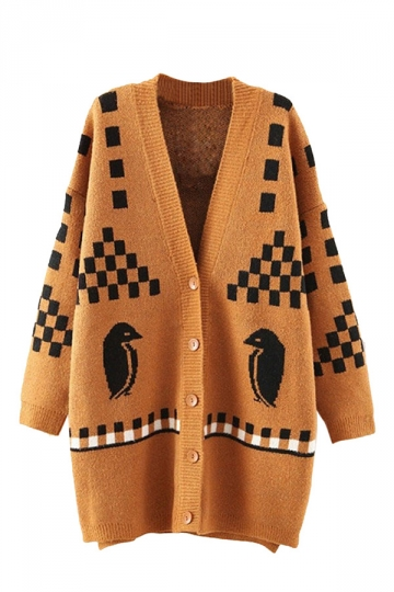 Khaki Penguin Pattern Casual Ladies Cardigans Sweater
