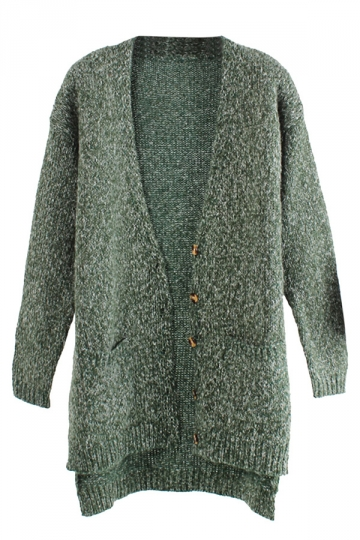 Green High Low Double Pocket Loose Womens Cardigan Sweater