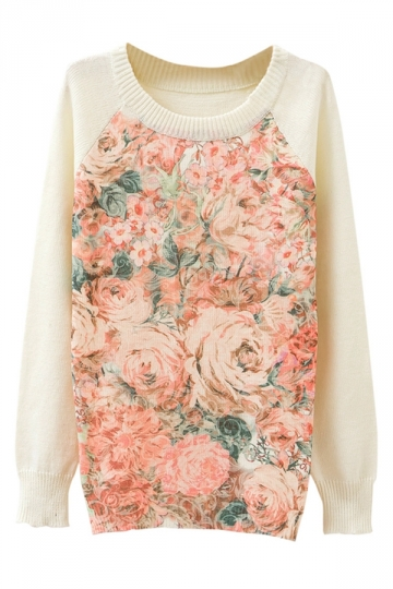 Ladies Rose Printed Crew Neck Pullover Sweater White