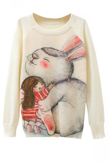 Ladies Cute Rabbit Printed Crew Neck Pullover Sweater White
