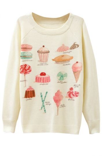 Ladies Cake Printed Crew Neck Pullover Sweater White