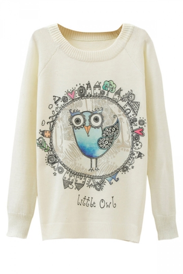 Ladies Little Owl Printed Crew Neck Pullover Sweater White