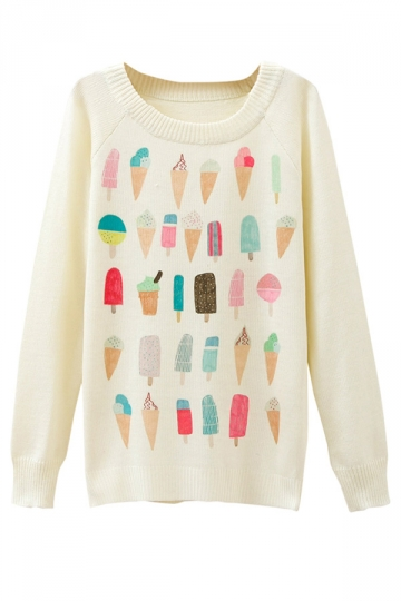 Ladies Ice Cream Printed Crew Neck Pullover Sweater White