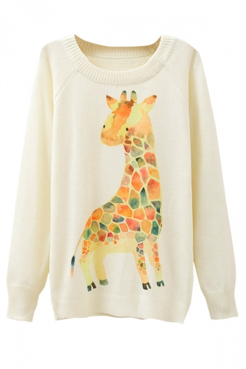 Ladies Giraffe Printed Crew Neck Pullover Sweater White