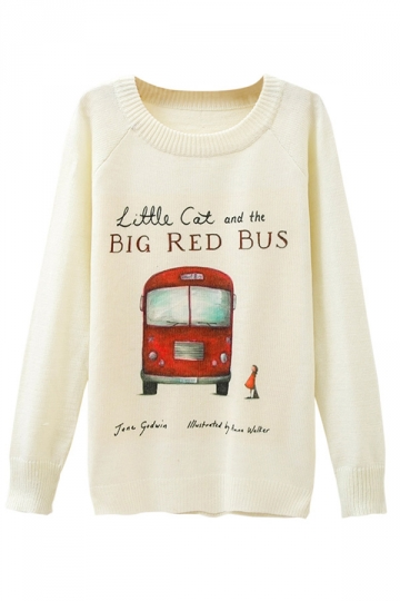 Ladies Big Red Bus Printed Crew Neck Pullover Sweater White