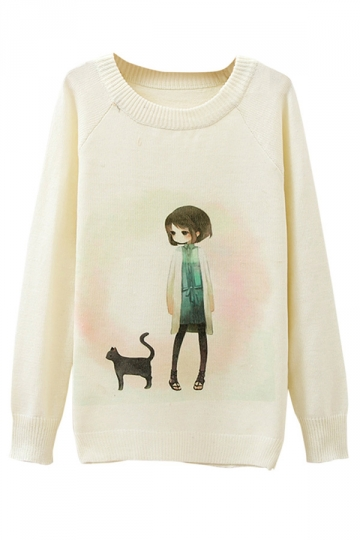 Ladies Girl And Cat Printed Crew Neck Pullover Sweater White ...
