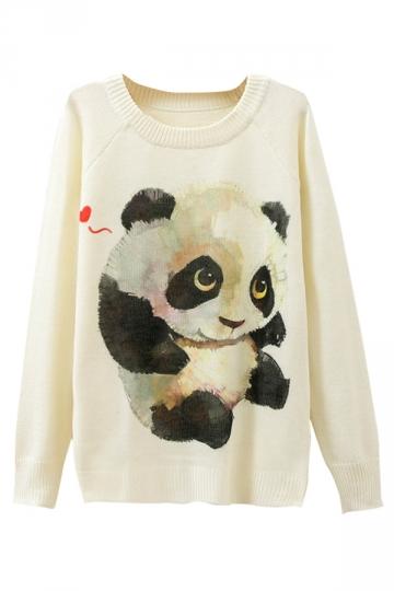 Ladies Cute Panda Printed Crew Neck Pullover Sweater White