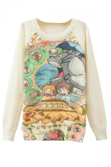 Ladies Totoro Printed Crew Neck Pullover Sweater White
