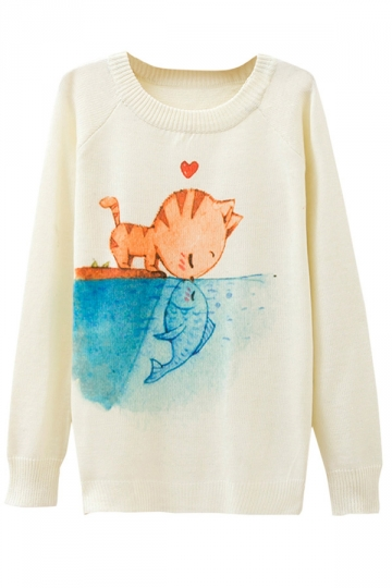 Ladies Crew Neck Cat Kiss Fish Printed Pullover Sweater White