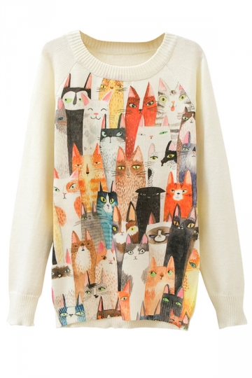 Ladies Crew Neck Cats Printed Pullover Sweater White
