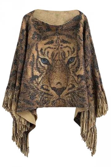Ladies Fringe Tiger Printed Bateau Pullover Sweater Gold