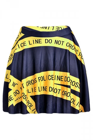 Yellow Chic Womens Letter Printed Pleated Skirt