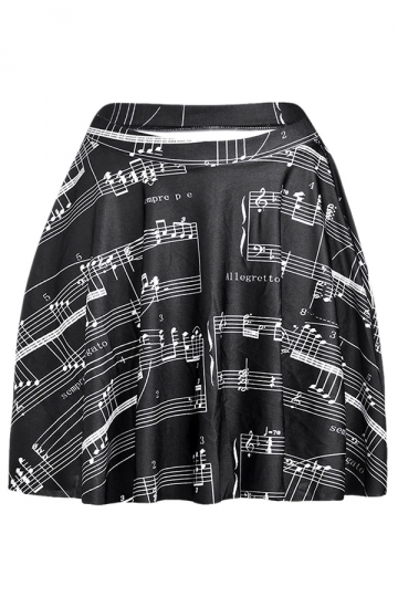 Black Chic Womens Music Score Printed Pleated Skirt
