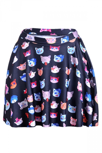 Black Chic Womens Cute Cats Printed Pleated Skirt