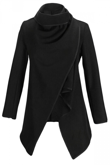 Ladies Irregularly Slimming Retro Wool Coat Black