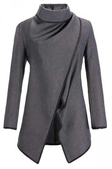 Ladies Irregularly Slimming Retro Wool Coat Gray
