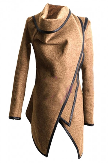 Ladies Irregularly Slimming Retro Wool Coat Khaki