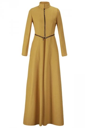 Ladies Stand Collar Zipper Slit Long Wool Coat Yellow