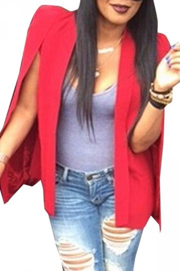 Womens Casual Cape Opened Sleeve Blazer Ruby