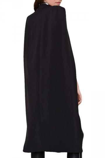 Womens Medium Length Cape Opened Sleeve Blazer Black