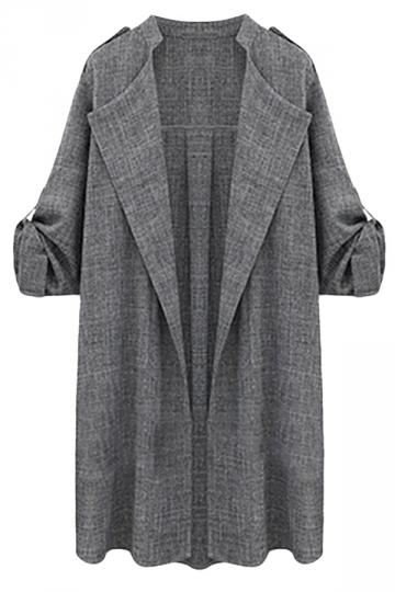 Womens Stand Collar Cardigan Long Sleeve Blazer Gray