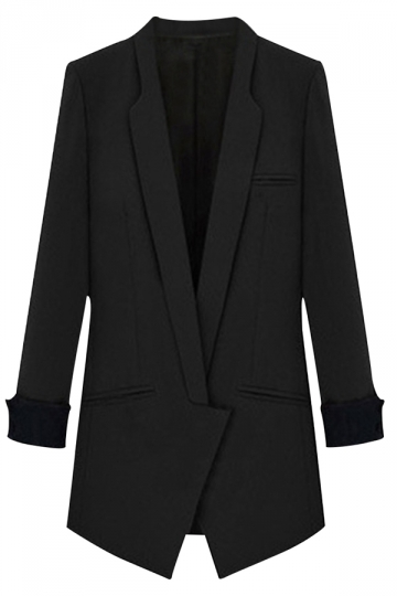 Womens Long Sleeve Notch Lapel Color Blocking Blazer Black