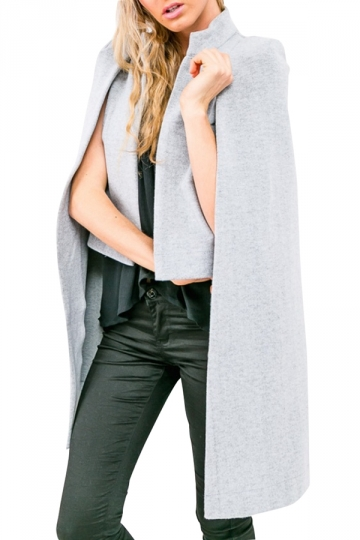 Womens Stylish Stand Collar Long Sleeve Cape Blazer Gray