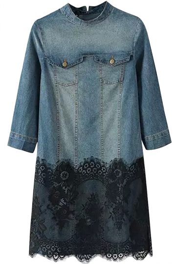 Womens Lace Patchwork Stand Collar Pullover Denim Shirt Dress Blue