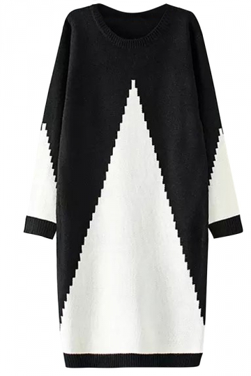 Womens Round Neck Long Style Color Block Pullover Sweater Dress White
