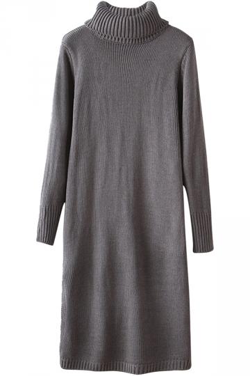 Womens Turtleneck Side Slit Long Sleeve Sweater Dress Gray