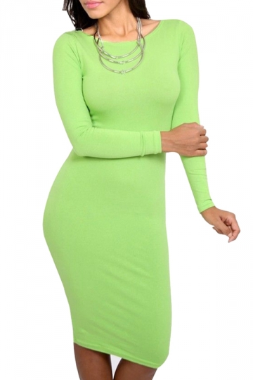 Womens Long Sleeve Bodycon Midi Dress Pure Green