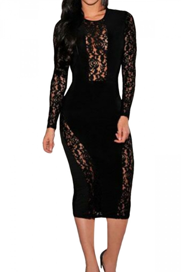 Womens Crew Neck Lace Patchwork See Through Midi Dress Black