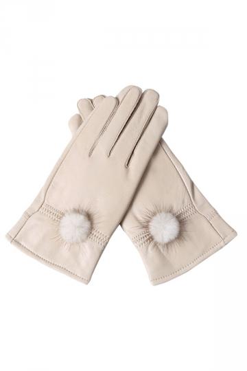 Womens Pom Pom Warm Leather Gloves Beige